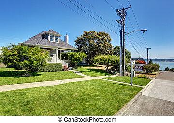 single-family, amerikai, kézműves, épület, exterior.