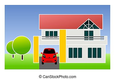 single family home with car - illustration of single family...
