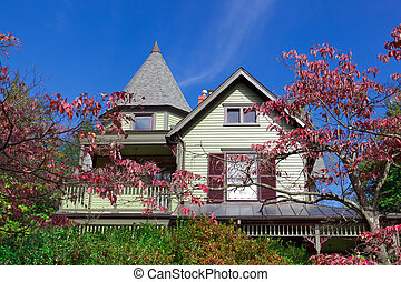 Single Family House Home Victorian Queen Anne Fall -...