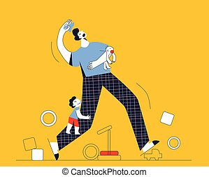 Single father in a room with his children Tired dad feels exhausted with two kids Flat vector cartoon illustration isolated on yellow