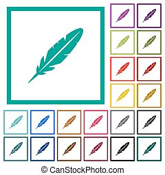 Single feather flat color icons with quadrant frames on...