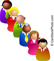 single file - queue of diverse people - icon people series
