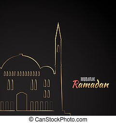 Single flat icon of Mosque isolated on black background