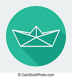 Single flat paper boat icon with long shadow.