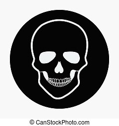 Single flat skull icon. Vector illustration