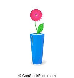Single flower in vase - Single pink flower in blue glossy...