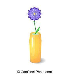 Single flower in vase - Single violet flower in orange...