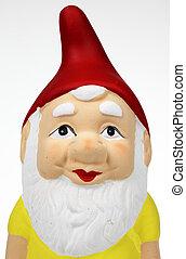 single garden gnome against a white background