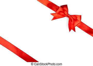 single gift bow, red satin, with cross ribbons