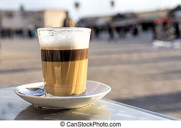 Single glass of latte macchiato, Morocco