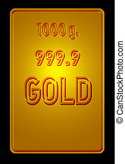 Single gold bullion - Illustration of a single gold bullion...