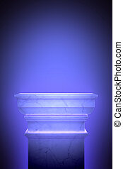 Single greek column isolated on blue
