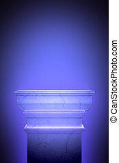Single greek column isolated on blue - 3d render