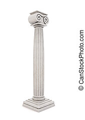 Single greek column isolated on white background. 3D illustration
