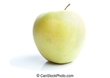 Single green apple isolated on white