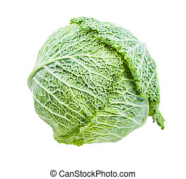single green cabbagehead of fresh savoy cabbage isolated on ...