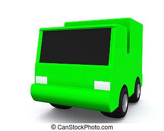 single green car. 3D