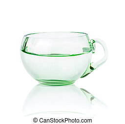 Single Green Glass Cup with Water