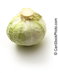 Single green head of cabbage