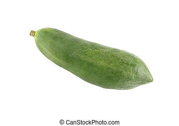 Single green papaya fruit on white background.