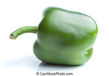 Single green pepper isolated on white