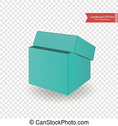 Single half open cardboard green blue box. Front view. Package isolated on transparent background. Realistic Vector Illustration