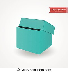 Single half open cardboard green blue box. Front view. Package isolated on white background. Realistic Vector Illustration