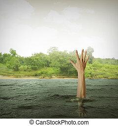single hand of drowning man