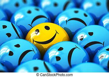 Single happy yellow smiley among blue sad ones