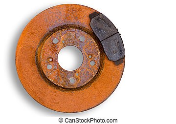 Single heavily corroded brake rotor and pad