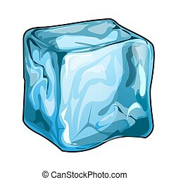 Single ice cube isolated on a white background. Vector cartoon close-up illustration.