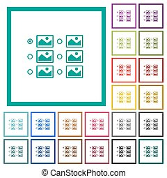 Single image selection with radio buttons flat color icons...