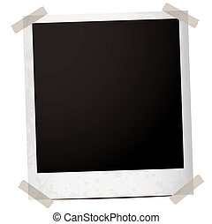 single instant photograph with tape holding the corners down