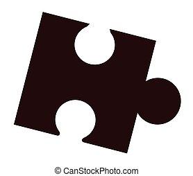 Single Jigsaw Piece - Isolated black jigsaw piece over a...