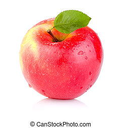 Single juicy Red apple with leaves and drops of water ...