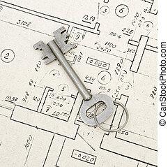 Single key on a house blueprints