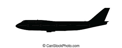 Single large aircraft silhouette, black and grey isolated on...