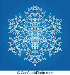 Single detailed snowflake on light blue background. This image is a vector illustration.