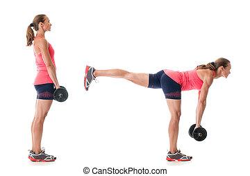 Single Leg Deadlift - Single-leg deadlift exercise. Studio...