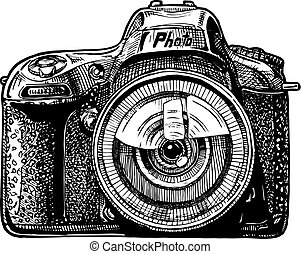 Single-lens reflex camera - Vector hand drawn sketch of SLR ...