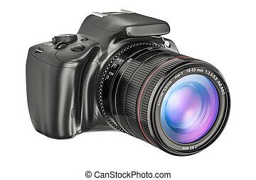 single-lens, vakolás, fényképezőgép, digitális, closeup., ...