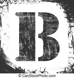 Letter B in a series of single square stamps with grunge design, isolated on white background.