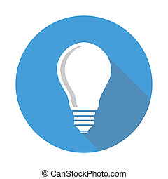 single lightbulb icon with shadow, flat style