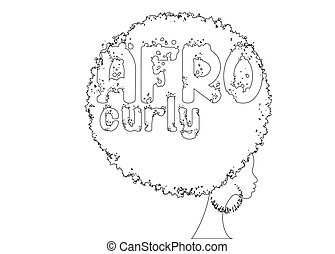 single line sketch of curly afro hair, portrait African Woman , dark skin female face with curly hair afro, ethnic traditional earrings, hair style concept, Afro grunge text, vector isolated or white