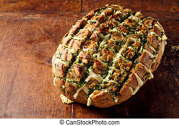 Single loaf of cheese stuffed party bread