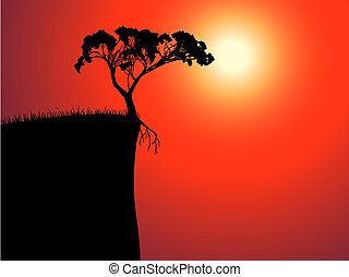 single lonely tree on the brink, sun in a fog