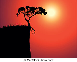 single lonely tree on the brink