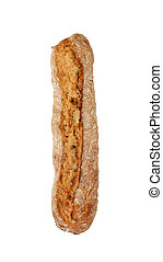 single long baguette french bread isolated on white background