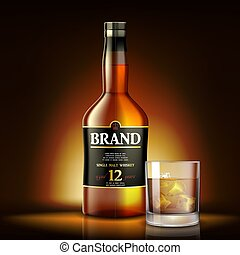 Single malt Whiskey Drink ads design. Realistic glass whiskey bottle label on shiny gold background. Vector 3d illustration