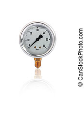 Single manometer isolated on white background with reflection